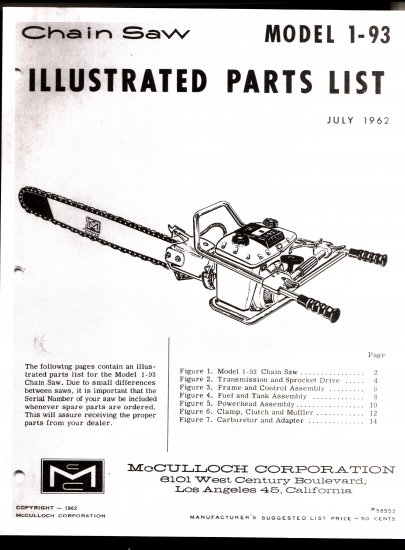 Chain Saw Parts List McCulloch Model 1-93