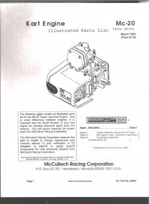 Kart Engine Parts List McCullouh MC-20