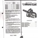 Chain Saw Parts List Mc Culloch , Mac Cat 38 cc