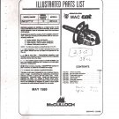 Chain Saw Parts List Mc Culloch , Mac Cat Wildcat 38 cc