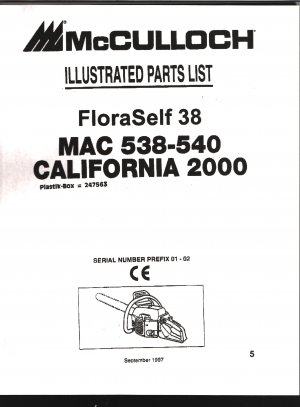 Chain Saw Parts List Mc Culloch , Mac 538-540, FloraSelf 38, California 2000