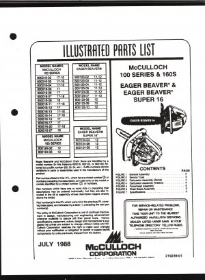Chain Saw Parts List Mc Culloch , Mac 100 Series, 160, Eager Beaver, Eager Beaver Super 16