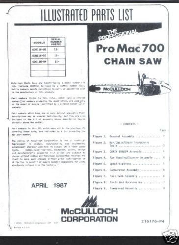 Pro Mac 700, McCulloch Chain Saw Parts List