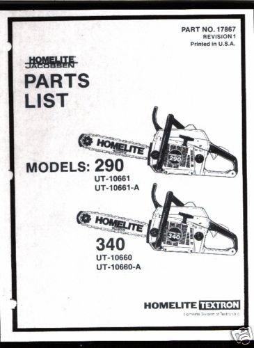 Homelite 290, 340,  Chain Saw Parts List