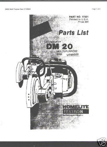 Homelite Multi Purpose Saw DM 20 Parts List
