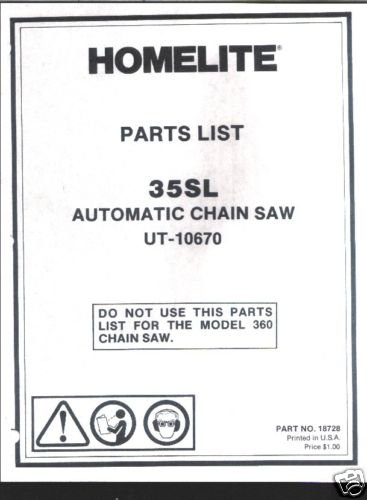 Homelite 35SL Automatic,  Chain Saw Parts List