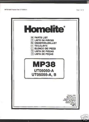 Homelite Multi Purpose Saw MP38 Parts List