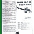 Supr Pro 81, McCulloch Chain Saw Parts List (1976)