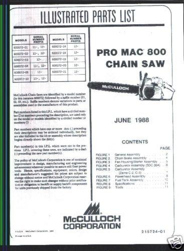 Pro Mac 800, McCulloch Chain Saw Parts List