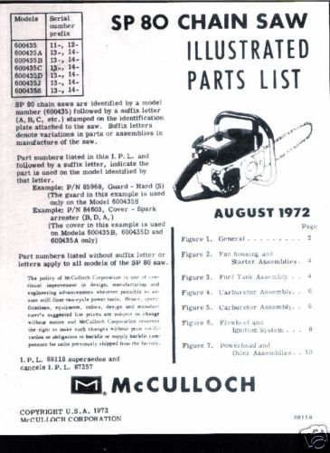SP 80, McCulloch Chain Saw Parts List