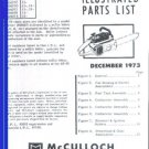 SP 60, McCulloch Chain Saw Parts List