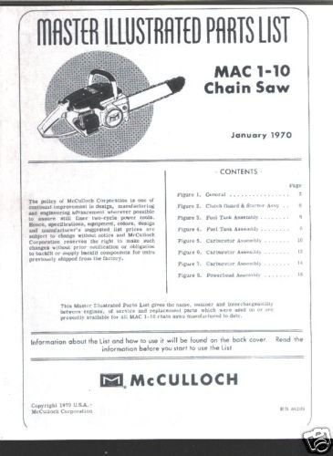 MAC  1-10 ,1970 Model, McCulloch Chain Saw Parts List