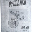 Model 33,  McCulloch, Vintage  Chain Saw Parts List