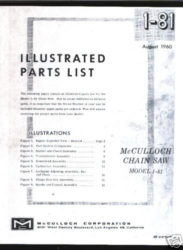 Model 1-81, Vintage McCulloch Chain Saw Parts List