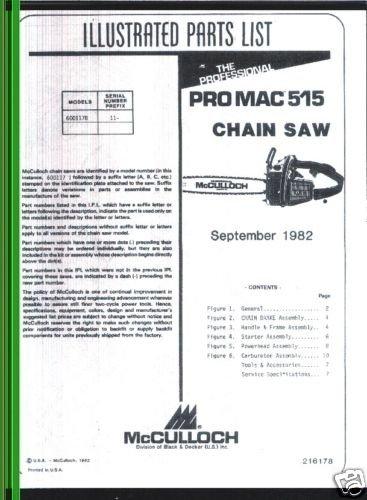 Pro Mac 515, McCulloch Chain Saw Parts List