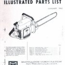 Model BP-1,  McCulloch, Vintage  Chain Saw Parts List