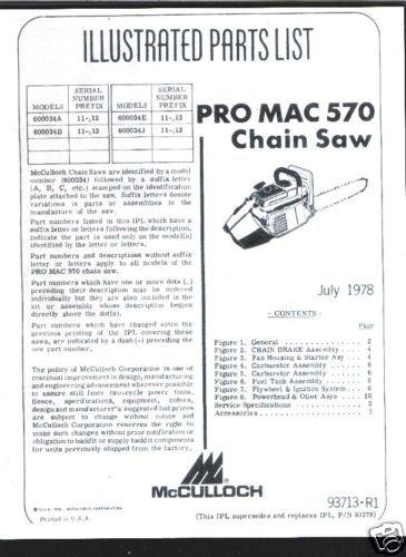 Pro Mac 570, McCulloch Chain Saw Parts List