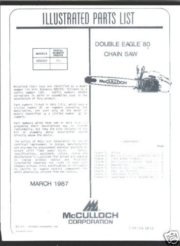 MAC  Double Eagle 80, McCulloch Chain Saw Parts List