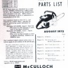 SP 80, McCulloch Chain Saw Parts List (1972)