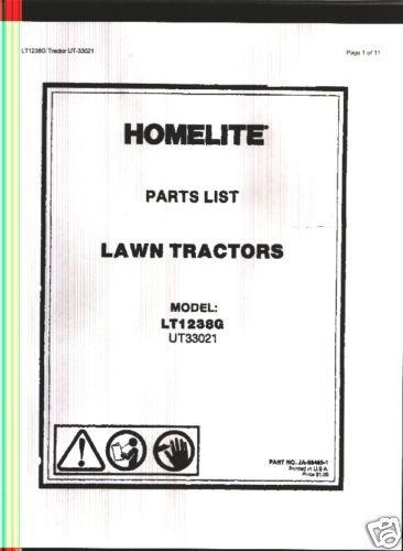 Homelite Model LT1238G,  Lawn Tractor Parts List