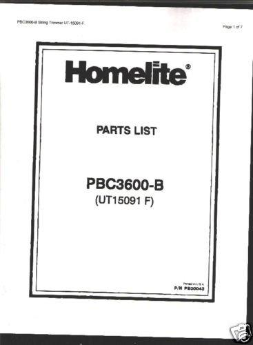 Homelite String Trimmer PBC3600-B Parts List
