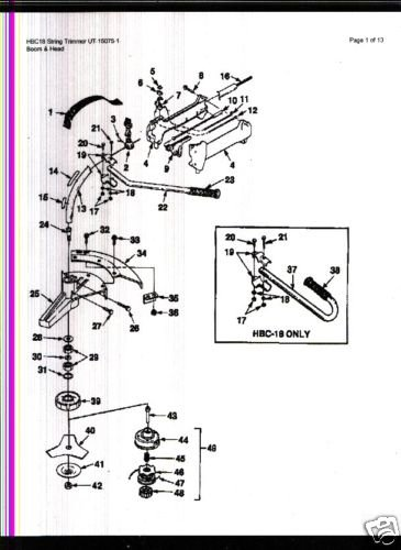 Homelite String Trimmer HBC18 Parts List