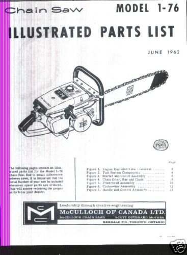 Model 1-76, Vintage McCulloch Chain Saw Parts List