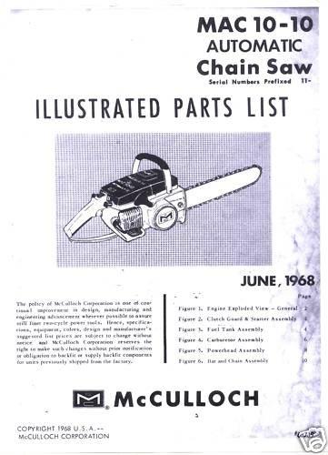 Mac 10-10  McCulloch Chain Saw Parts List (1968)