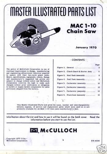 Mac 1-10  McCulloch Chain Saw Parts List (1970)