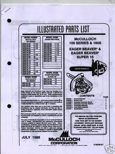 100 Series & 160S  McCulloch Chain Saw Parts List