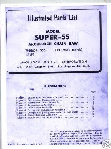 Super -55  McCulloch Chain Saw Parts List (1957)
