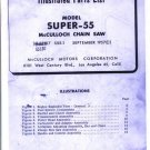 Super -55  McCulloch Chain Saw Parts List (1957)