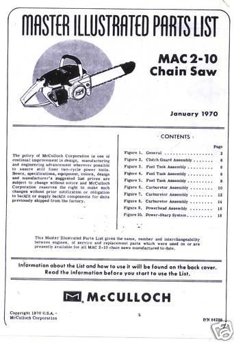 Mac 2-10  McCulloch Chain Saw Parts List (1970)