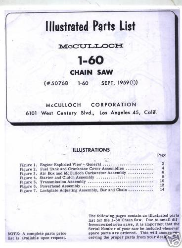 1-60  McCulloch Chain Saw Parts List (1959)