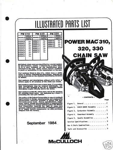 Power Mac 310,320,330  McCulloch Chain Saw Parts List
