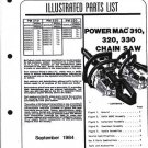 Power Mac 310,320,330  McCulloch Chain Saw Parts List