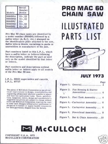 Pro Mac 60  McCulloch Chain Saw Parts List (1973)