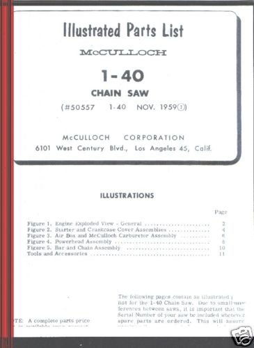 Model 1-40,  McCulloch,  Chain Saw Parts List (1959)