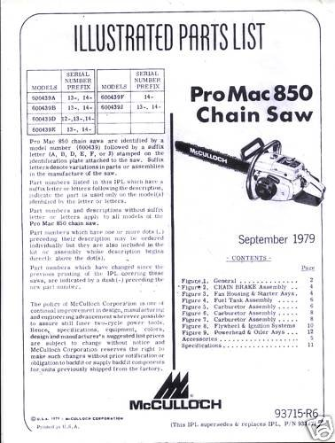 Pro Mac 850  McCulloch Chain Saw Parts List (1979)