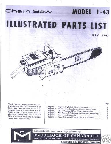 Model 1-43  McCulloch Chain Saw Parts List (1962)