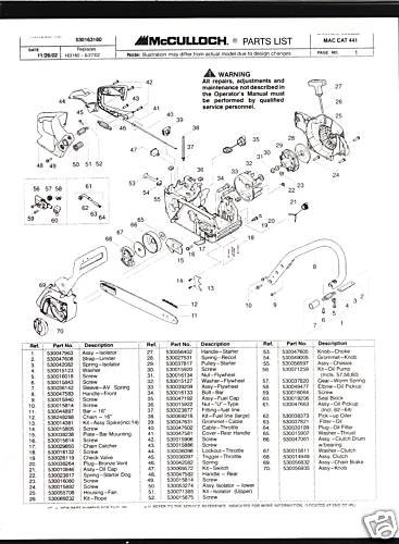 Mac Cat 441, McCulloch Chain Saw Parts List