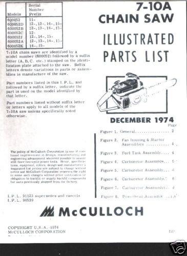 MAC  7-10A , Model, McCulloch Chain Saw Parts List(1974