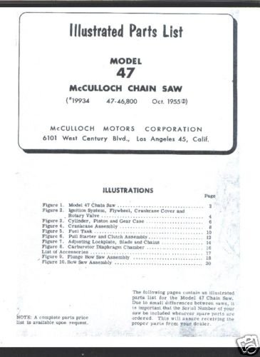 Model 47,  McCulloch,  Chain Saw Parts List (1955)