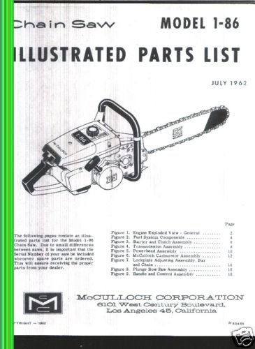 Model 1-86, Vintage McCulloch Chain Saw Parts List