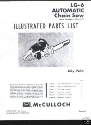 MAC  LG -6 , Model,McCulloch ChainSaw Parts List (1968)
