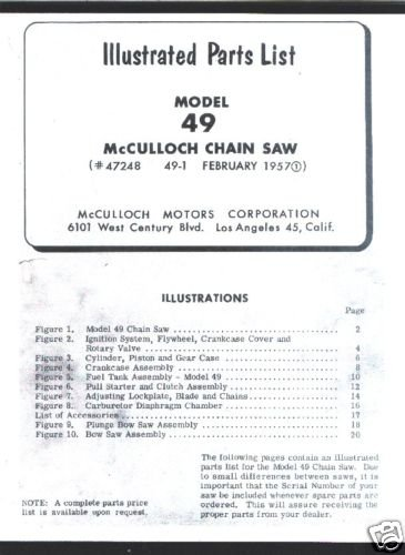 Model 49,  McCulloch,  Chain Saw Parts List (1957)