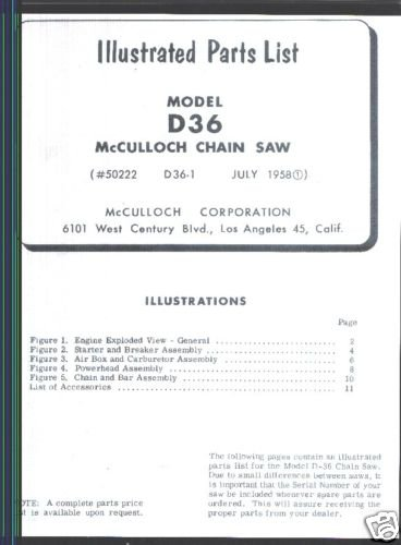 Mac D-36,  McCulloch,  Chain Saw Parts List (1958)