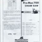 McCULLOCH Pro Mac 700  Chain saw Parts List