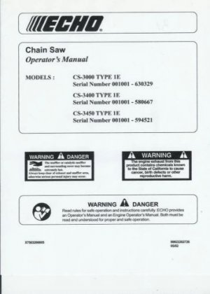 echo cs 3000 3400 3450 all type 1e chain saw operator u0026 39 s manual