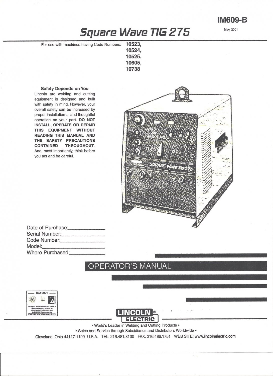Lincoln Electric Square Wave Ti G 275 Welder Operator U0026 39 S Manual   Copy